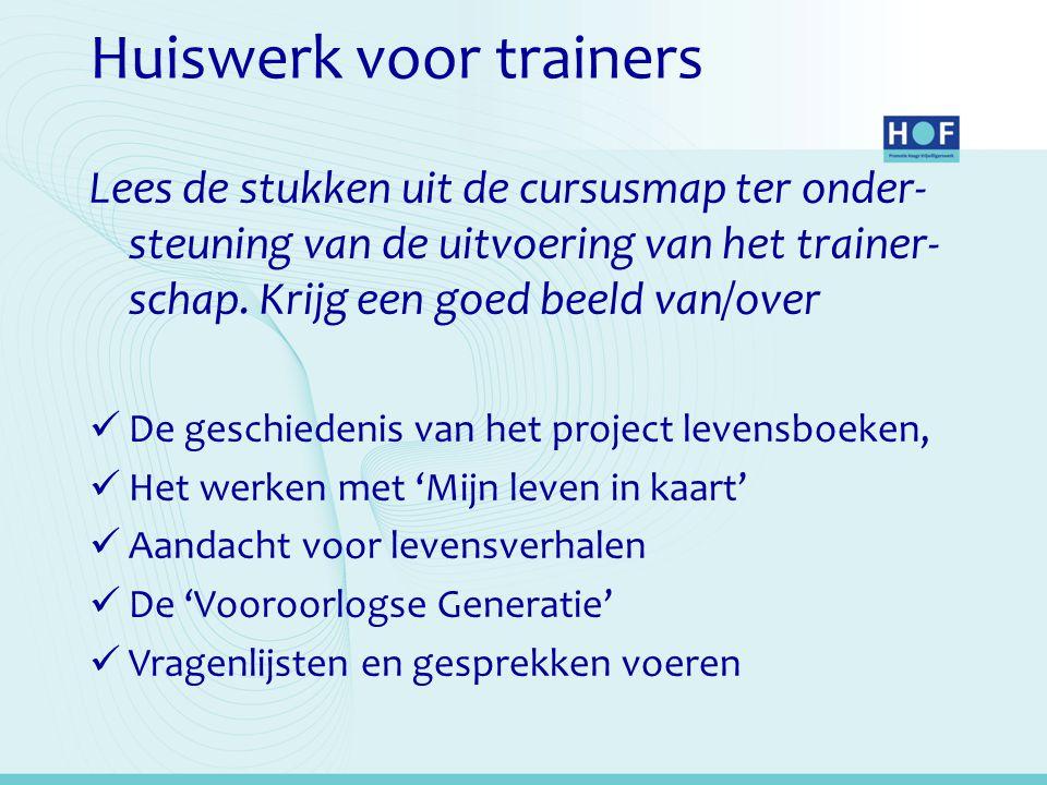 Huiswerk voor trainers Lees de stukken uit de cursusmap ter onder- steuning van de uitvoering van het trainer- schap.