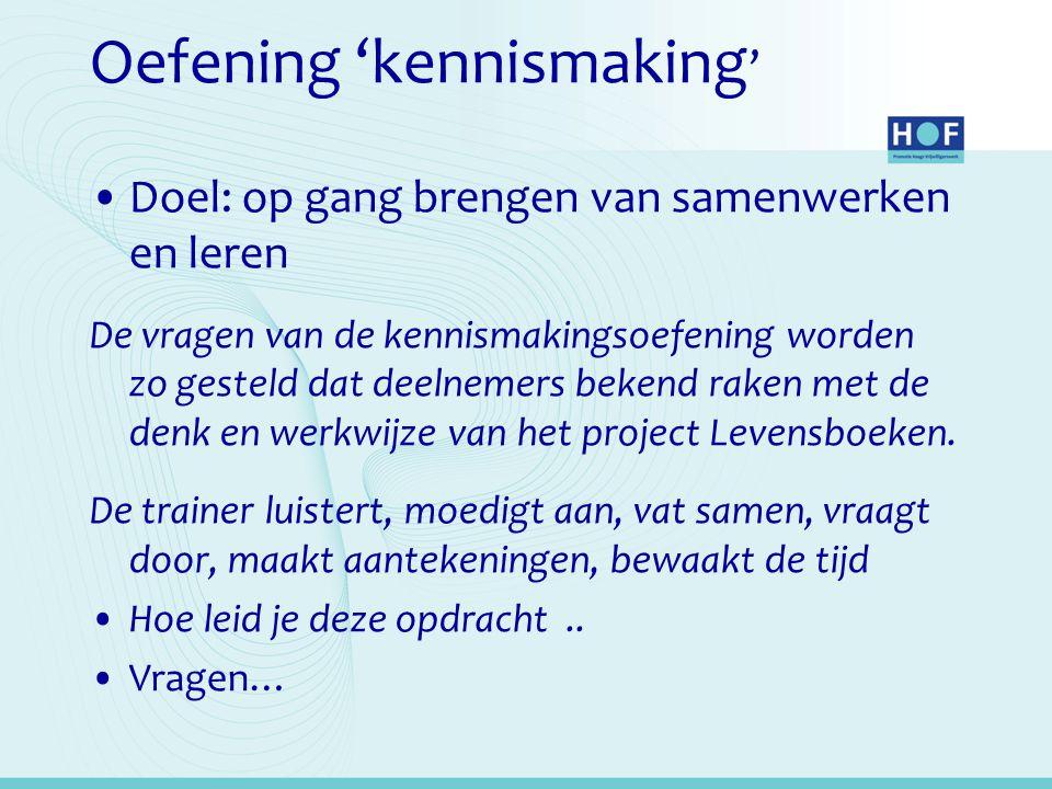 Oefening 'kennismaking ' Doel: op gang brengen van samenwerken en leren De vragen van de kennismakingsoefening worden zo gesteld dat deelnemers bekend raken met de denk en werkwijze van het project Levensboeken.