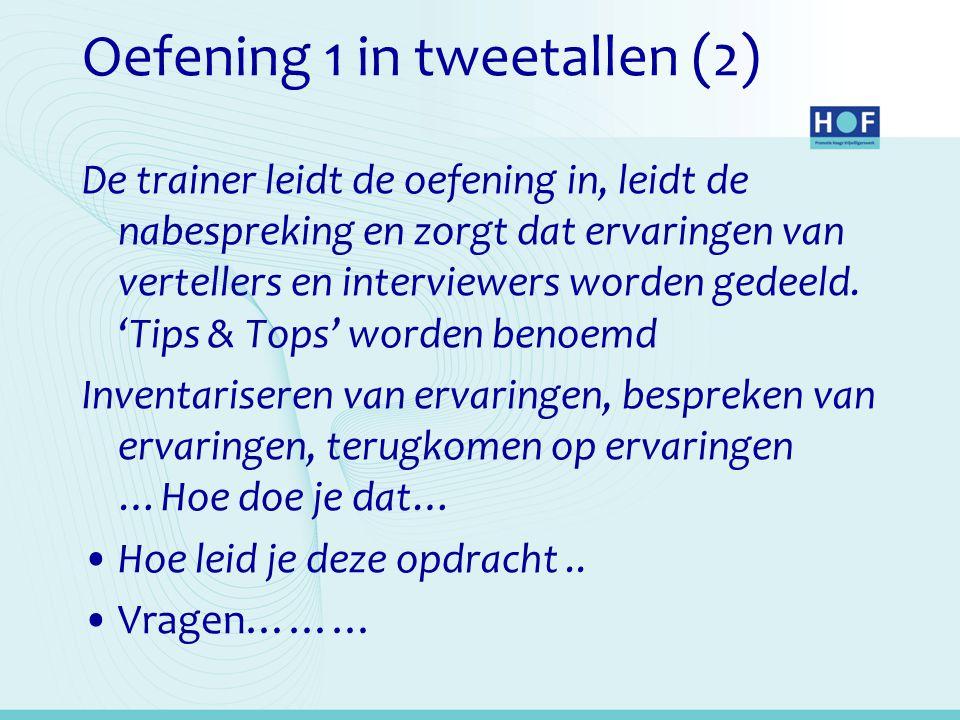 Oefening 1 in tweetallen (2) De trainer leidt de oefening in, leidt de nabespreking en zorgt dat ervaringen van vertellers en interviewers worden gedeeld.