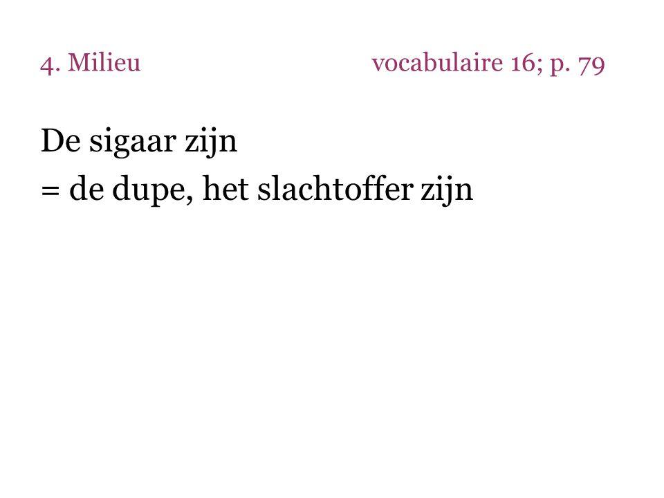 4. Milieuvocabulaire 16; p. 79 De sigaar zijn = de dupe, het slachtoffer zijn