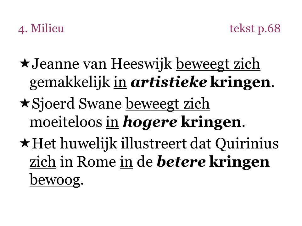 4. Milieutekst p.68  Jeanne van Heeswijk beweegt zich gemakkelijk in artistieke kringen.  Sjoerd Swane beweegt zich moeiteloos in hogere kringen. 