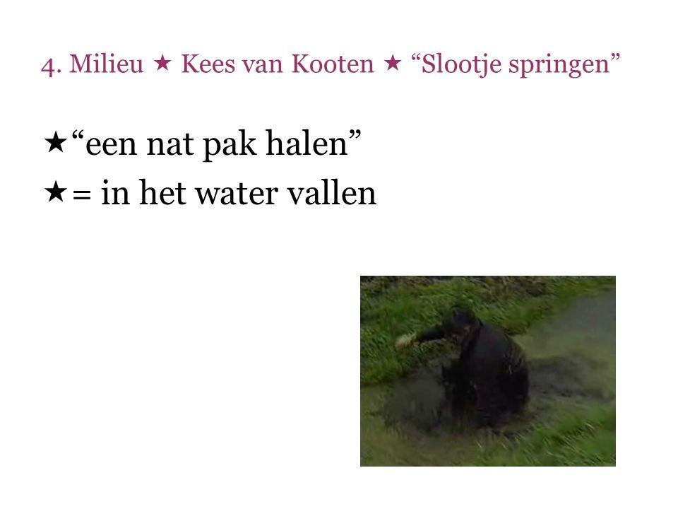 """4. Milieu  Kees van Kooten  """"Slootje springen""""  """"een nat pak halen""""  = in het water vallen"""