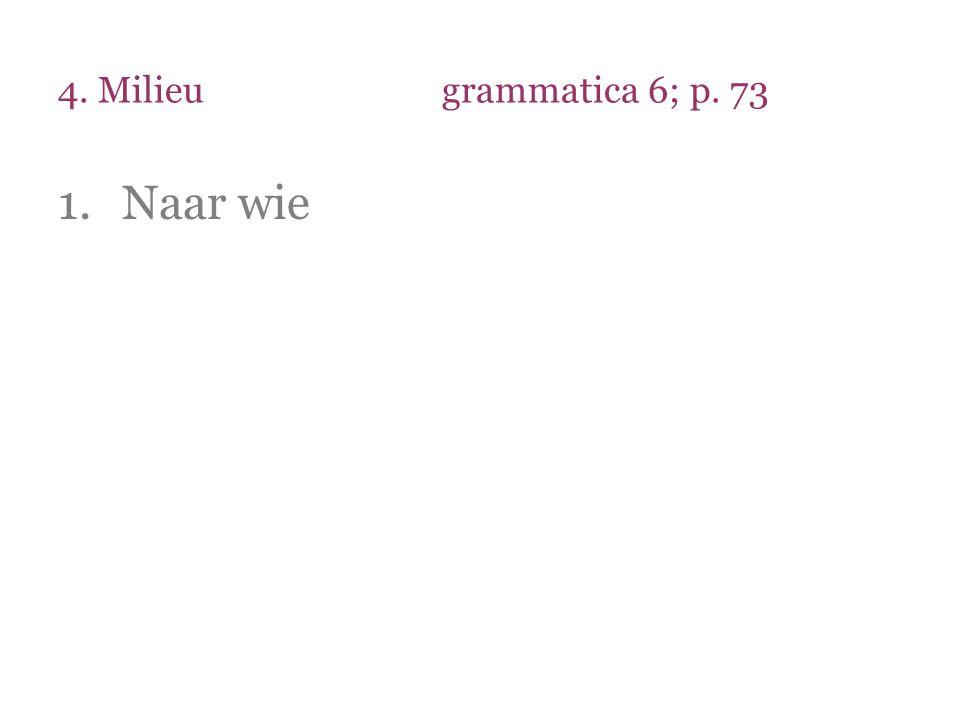 4. Milieugrammatica 6; p. 73 1.Naar wie