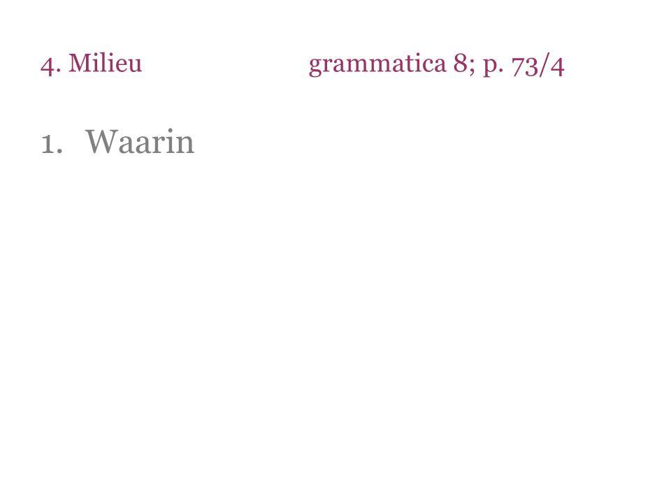 4. Milieugrammatica 8; p. 73/4 1.Waarin