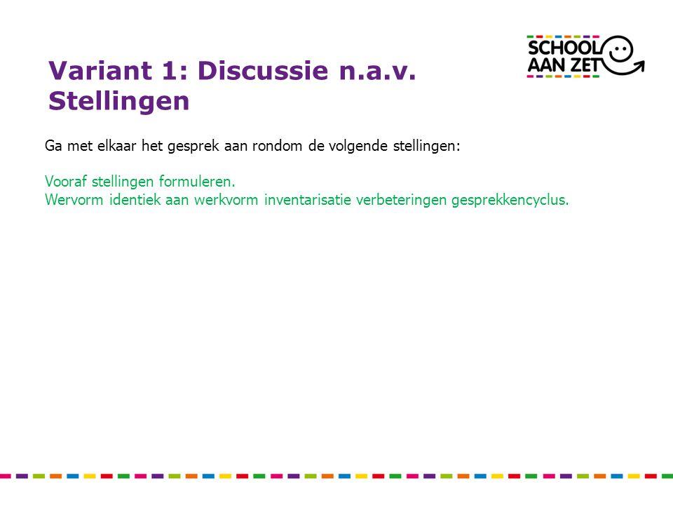 Variant 1: Discussie n.a.v. Stellingen Ga met elkaar het gesprek aan rondom de volgende stellingen: Vooraf stellingen formuleren. Wervorm identiek aan