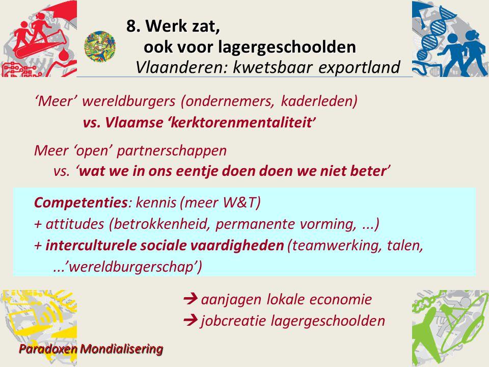 'Meer' wereldburgers (ondernemers, kaderleden) vs. Vlaamse 'kerktorenmentaliteit ' Meer 'open' partnerschappen vs. 'wat we in ons eentje doen doen we