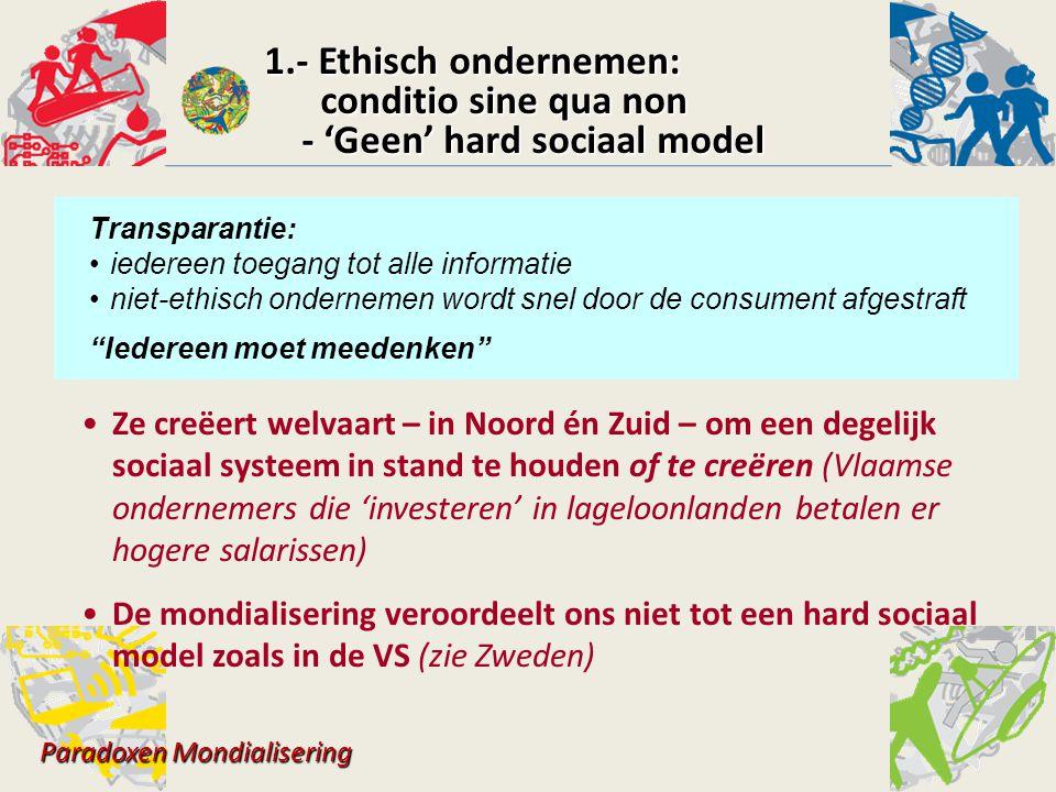 1.- Ethisch ondernemen: conditio sine qua non conditio sine qua non - 'Geen' hard sociaal model - 'Geen' hard sociaal model Paradoxen Mondialisering Z
