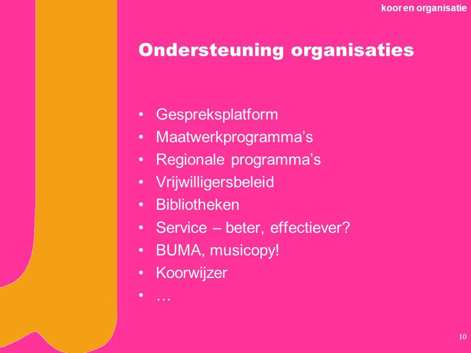 koor en organisatie 10 Ondersteuning organisaties Gespreksplatform Maatwerkprogramma's Regionale programma's Vrijwilligersbeleid Bibliotheken Service – beter, effectiever.