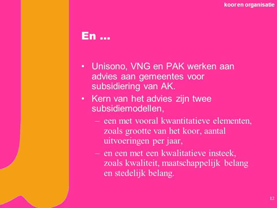koor en organisatie 12 En … Unisono, VNG en PAK werken aan advies aan gemeentes voor subsidiering van AK.