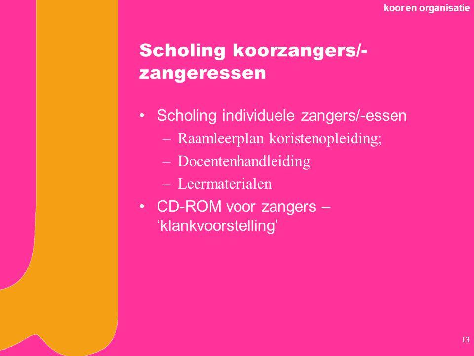 koor en organisatie 13 Scholing koorzangers/- zangeressen Scholing individuele zangers/-essen –Raamleerplan koristenopleiding; –Docentenhandleiding –Leermaterialen CD-ROM voor zangers – 'klankvoorstelling'