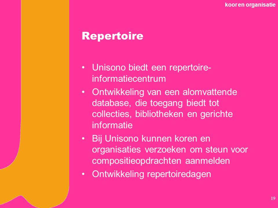 koor en organisatie 19 Repertoire Unisono biedt een repertoire- informatiecentrum Ontwikkeling van een alomvattende database, die toegang biedt tot collecties, bibliotheken en gerichte informatie Bij Unisono kunnen koren en organisaties verzoeken om steun voor compositieopdrachten aanmelden Ontwikkeling repertoiredagen