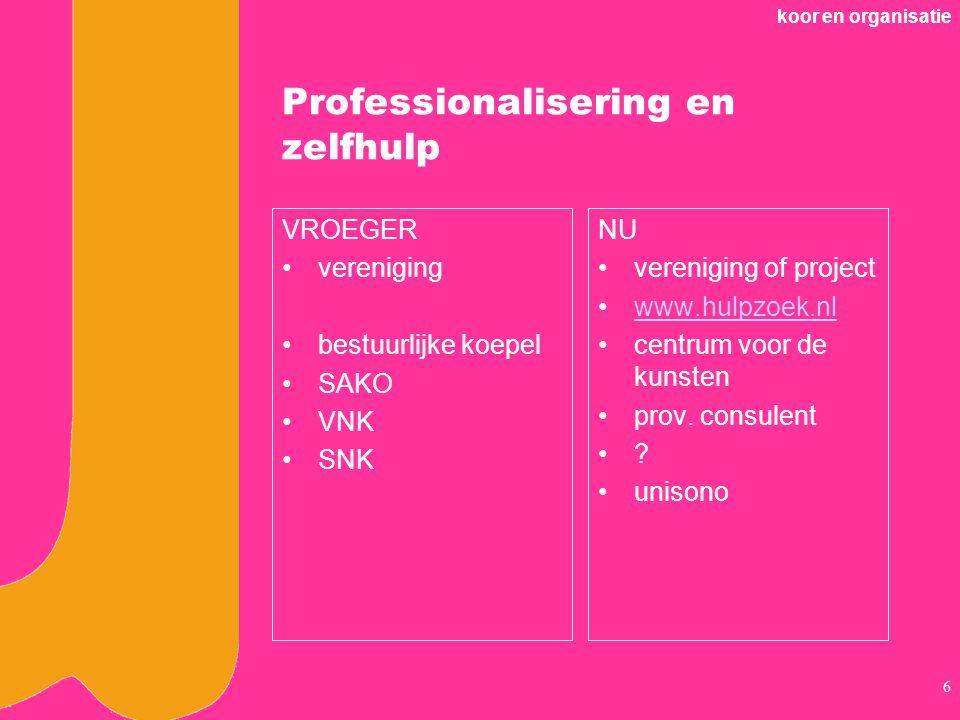 koor en organisatie 6 Professionalisering en zelfhulp VROEGER vereniging bestuurlijke koepel SAKO VNK SNK NU vereniging of project www.hulpzoek.nl centrum voor de kunsten prov.