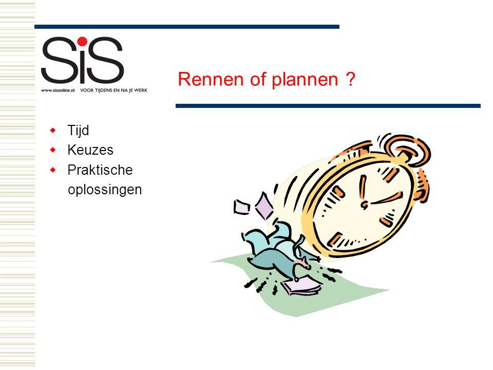  Tijd  Keuzes  Praktische oplossingen Rennen of plannen ?