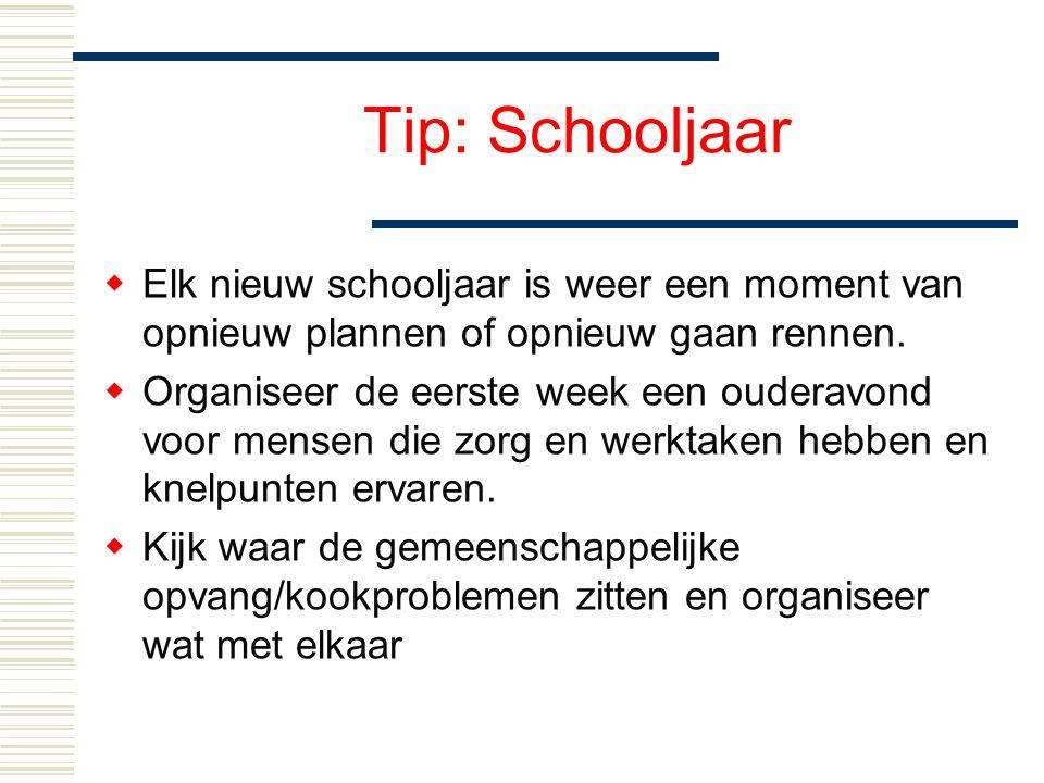 Tip: Schooljaar  Elk nieuw schooljaar is weer een moment van opnieuw plannen of opnieuw gaan rennen.  Organiseer de eerste week een ouderavond voor