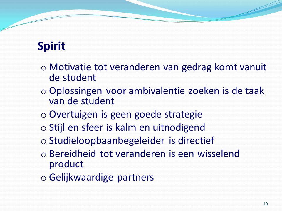 Spirit o Motivatie tot veranderen van gedrag komt vanuit de student o Oplossingen voor ambivalentie zoeken is de taak van de student o Overtuigen is g