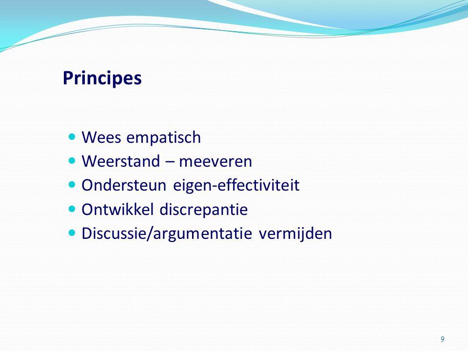 Principes Wees empatisch Weerstand – meeveren Ondersteun eigen-effectiviteit Ontwikkel discrepantie Discussie/argumentatie vermijden 9
