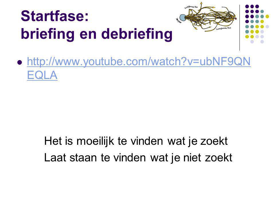Startfase: briefing en debriefing http://www.youtube.com/watch?v=ubNF9QN EQLA http://www.youtube.com/watch?v=ubNF9QN EQLA Het is moeilijk te vinden wa