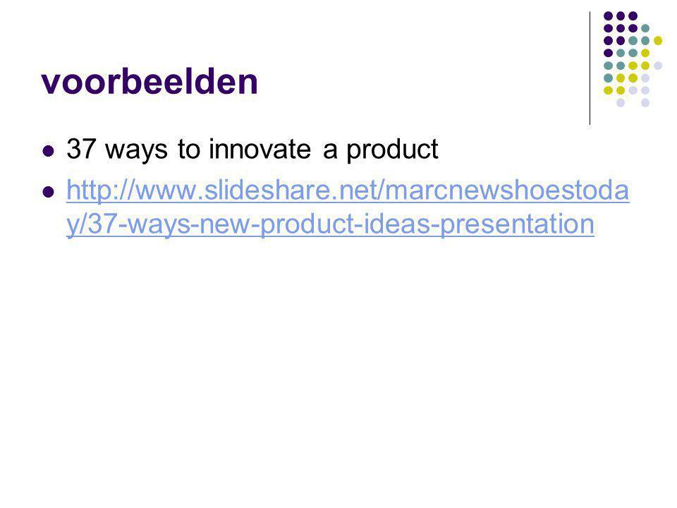 voorbeelden 37 ways to innovate a product http://www.slideshare.net/marcnewshoestoda y/37-ways-new-product-ideas-presentation http://www.slideshare.ne