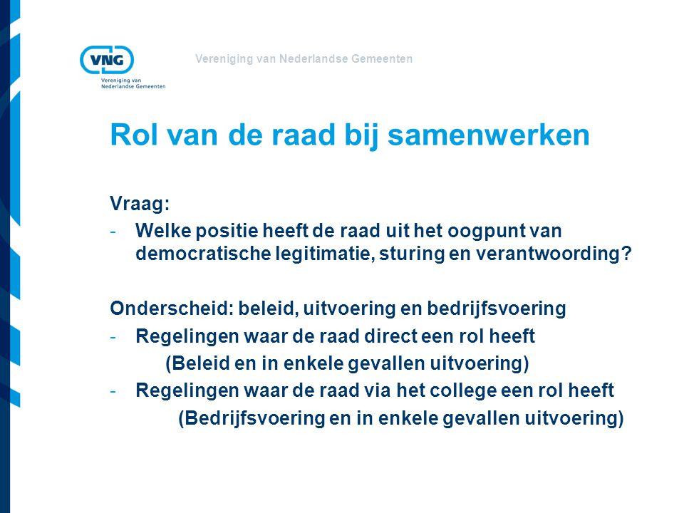 Vereniging van Nederlandse Gemeenten Rol van de raad bij samenwerken Vraag: -Welke positie heeft de raad uit het oogpunt van democratische legitimatie