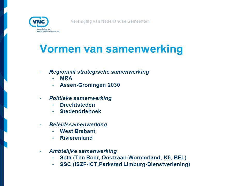 Vereniging van Nederlandse Gemeenten Vormen van samenwerking -Regionaal strategische samenwerking -MRA -Assen-Groningen 2030 -Politieke samenwerking -