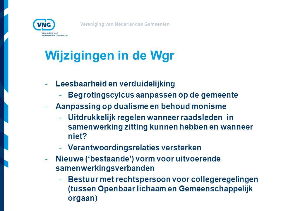 Vereniging van Nederlandse Gemeenten Wijzigingen in de Wgr -Leesbaarheid en verduidelijking -Begrotingscylcus aanpassen op de gemeente -Aanpassing op