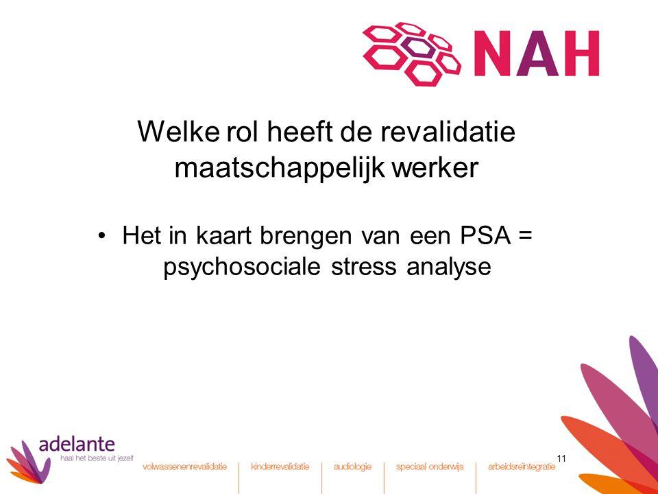 11 Welke rol heeft de revalidatie maatschappelijk werker Het in kaart brengen van een PSA = psychosociale stress analyse