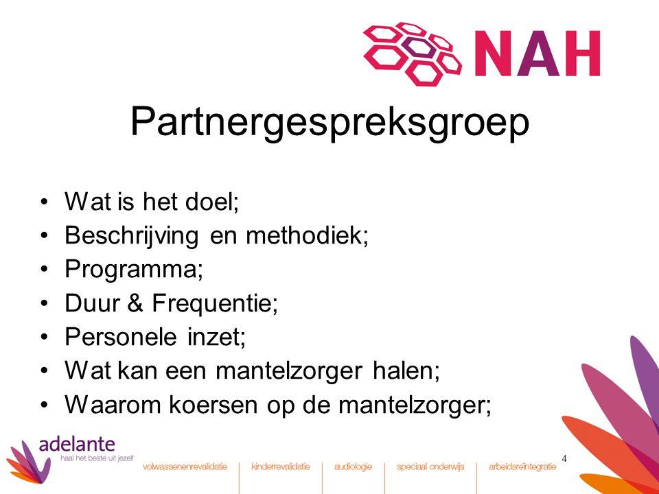 4 Partnergespreksgroep Wat is het doel; Beschrijving en methodiek; Programma; Duur & Frequentie; Personele inzet; Wat kan een mantelzorger halen; Waar