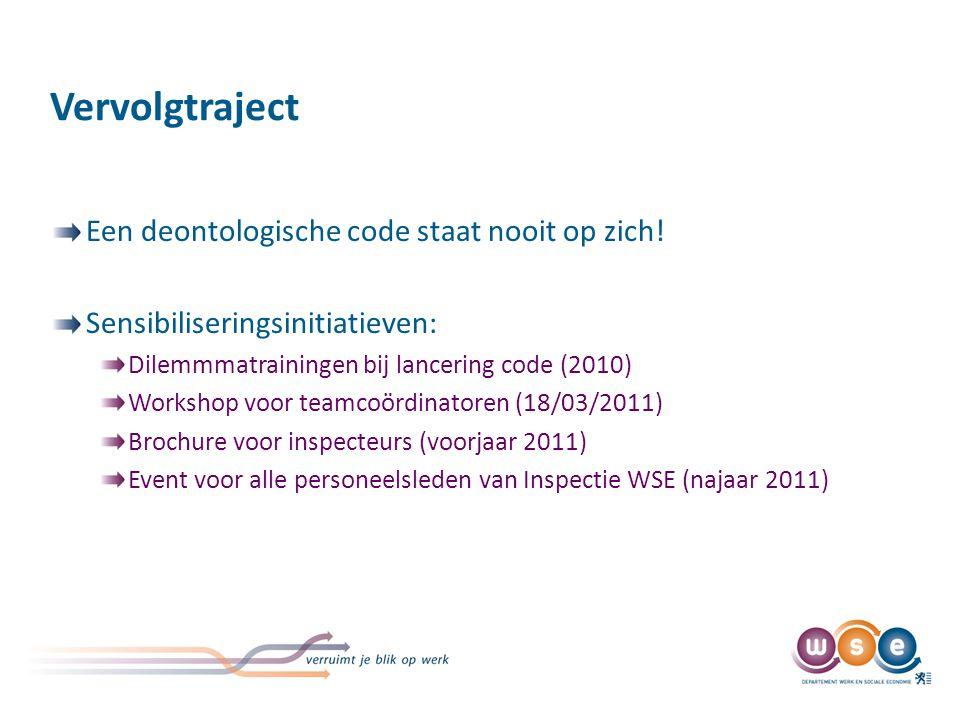 Vervolgtraject Een deontologische code staat nooit op zich! Sensibiliseringsinitiatieven: Dilemmmatrainingen bij lancering code (2010) Workshop voor t