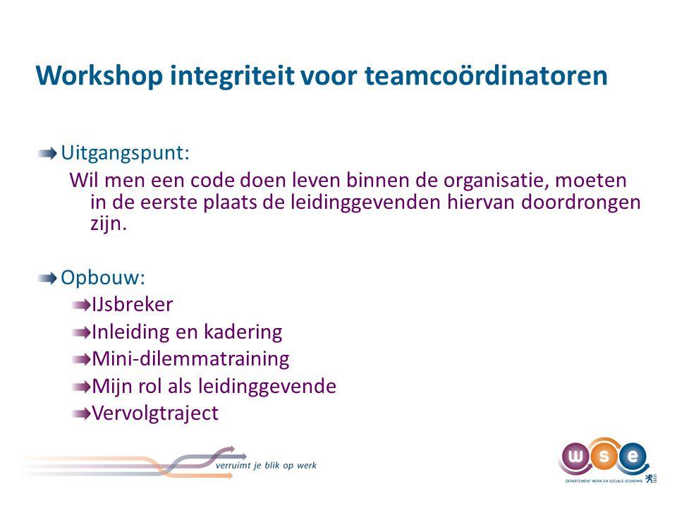 Workshop integriteit voor teamcoördinatoren Uitgangspunt: Wil men een code doen leven binnen de organisatie, moeten in de eerste plaats de leidinggeve
