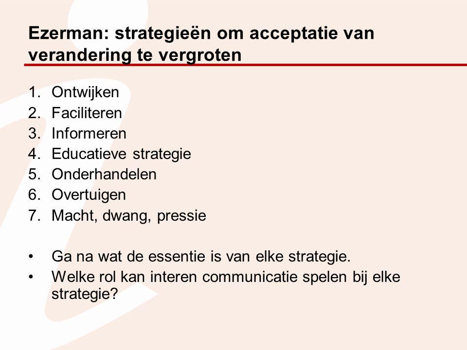 Ezerman: strategieën om acceptatie van verandering te vergroten 1.Ontwijken 2.Faciliteren 3.Informeren 4.Educatieve strategie 5.Onderhandelen 6.Overtuigen 7.Macht, dwang, pressie Ga na wat de essentie is van elke strategie.