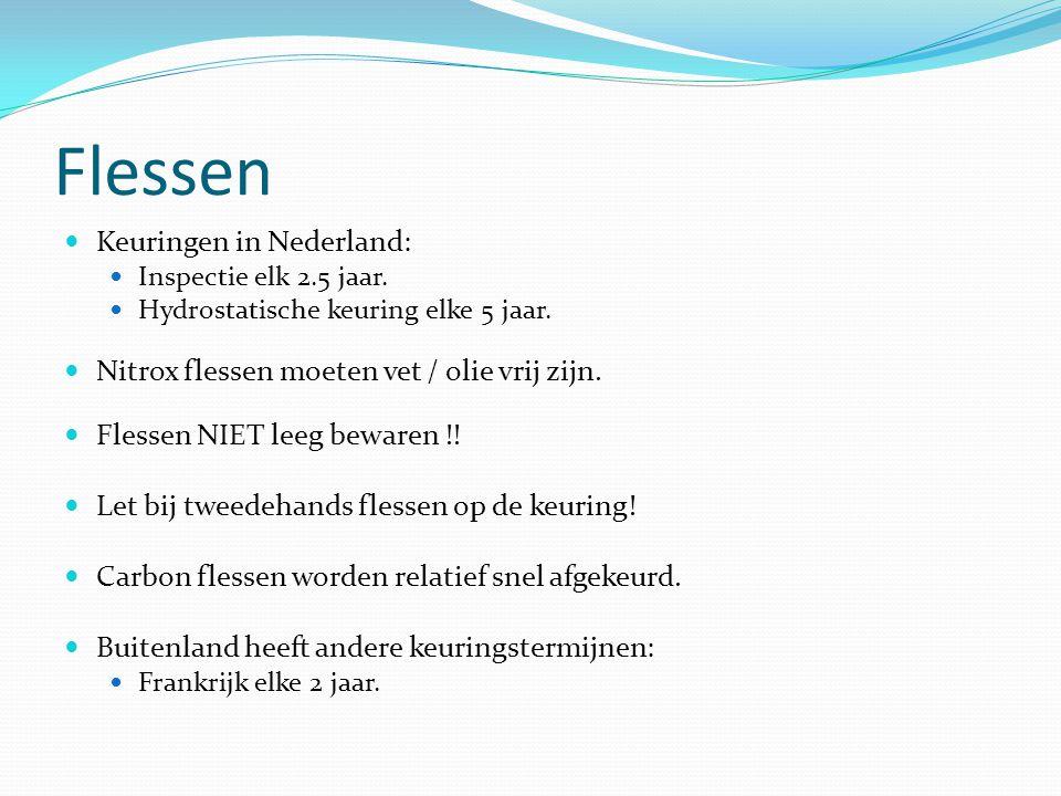 Flessen Keuringen in Nederland: Inspectie elk 2.5 jaar. Hydrostatische keuring elke 5 jaar. Nitrox flessen moeten vet / olie vrij zijn. Flessen NIET l