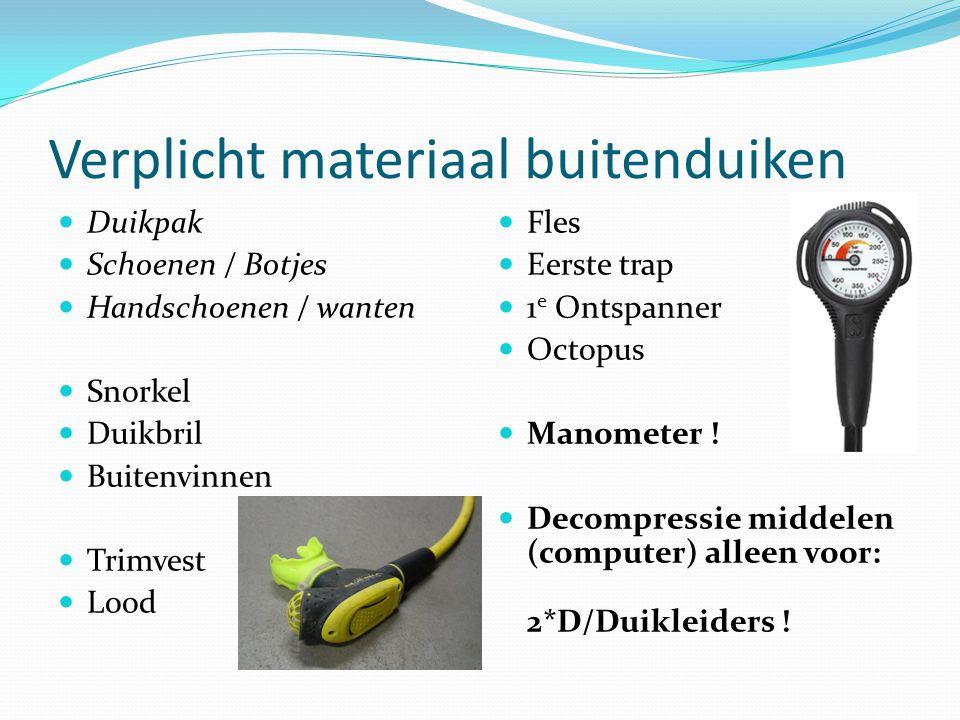 Verplicht materiaal buitenduiken Duikpak Schoenen / Botjes Handschoenen / wanten Snorkel Duikbril Buitenvinnen Trimvest Lood Fles Eerste trap 1 e Onts
