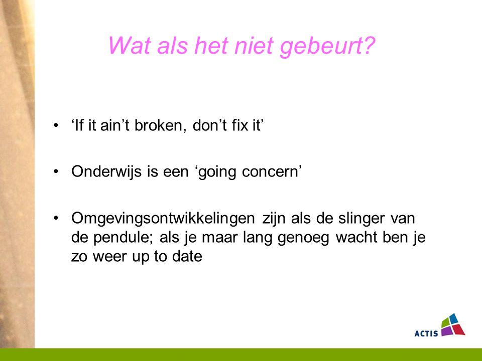 Wat als het niet gebeurt? 'If it ain't broken, don't fix it' Onderwijs is een 'going concern' Omgevingsontwikkelingen zijn als de slinger van de pendu