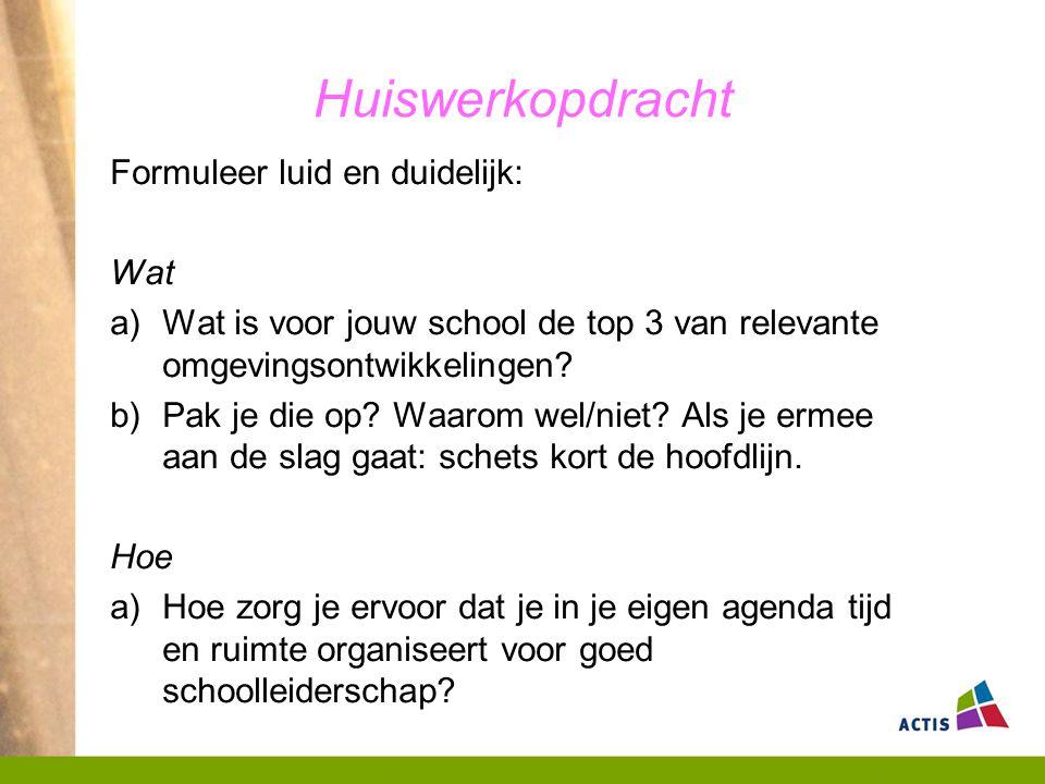 Huiswerkopdracht Formuleer luid en duidelijk: Wat a)Wat is voor jouw school de top 3 van relevante omgevingsontwikkelingen.