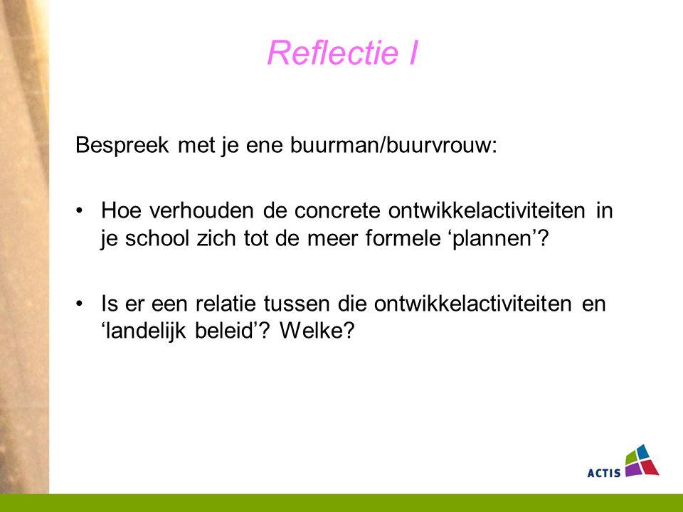 Reflectie I Bespreek met je ene buurman/buurvrouw: Hoe verhouden de concrete ontwikkelactiviteiten in je school zich tot de meer formele 'plannen'.
