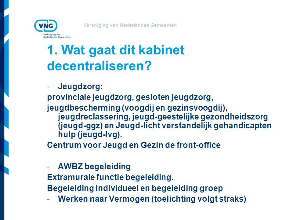 Vereniging van Nederlandse Gemeenten 1. Wat gaat dit kabinet decentraliseren.