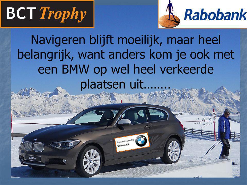 Navigeren blijft moeilijk, maar heel belangrijk, want anders kom je ook met een BMW op wel heel verkeerde plaatsen uit……..