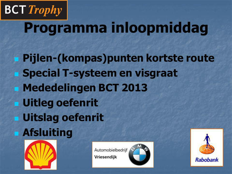 Pijlen-(kompas)punten kortste route Special T-systeem en visgraat Mededelingen BCT 2013 Uitleg oefenrit Uitslag oefenrit Afsluiting