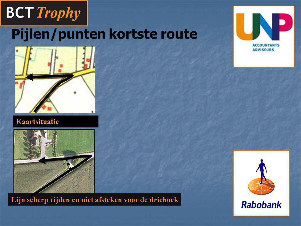Pijlen/punten kortste route Lijn scherp rijden en niet afsteken voor de driehoek Kaartsituatie