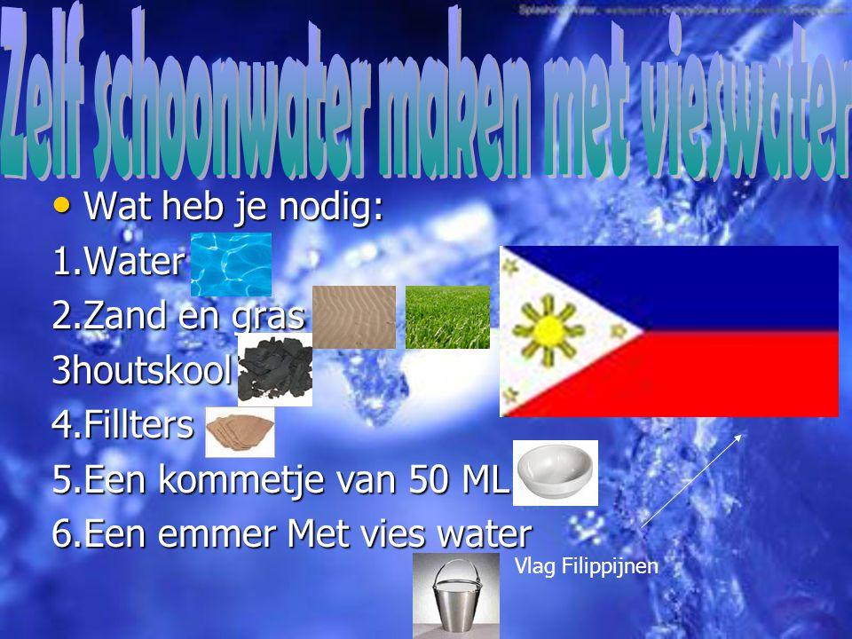 Wat heb je nodig: Wat heb je nodig:1.Water 2.Zand en gras 3houtskool4.Fillters 5.Een kommetje van 50 ML 6.Een emmer Met vies water Vlag Filippijnen