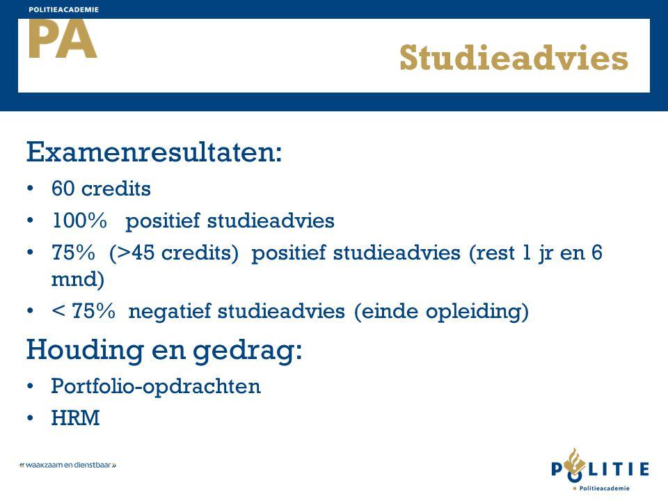 Studieadvies Examenresultaten: 60 credits 100% positief studieadvies 75% (>45 credits) positief studieadvies (rest 1 jr en 6 mnd) < 75% negatief studi