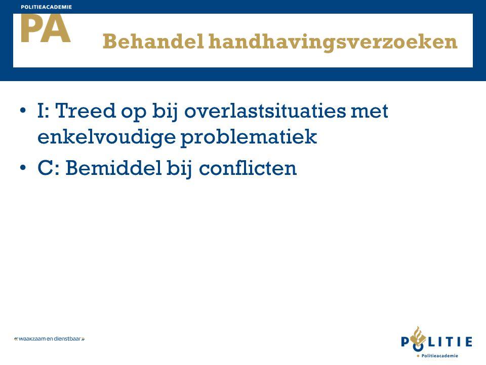 Behandel handhavingsverzoeken I: Treed op bij overlastsituaties met enkelvoudige problematiek C: Bemiddel bij conflicten
