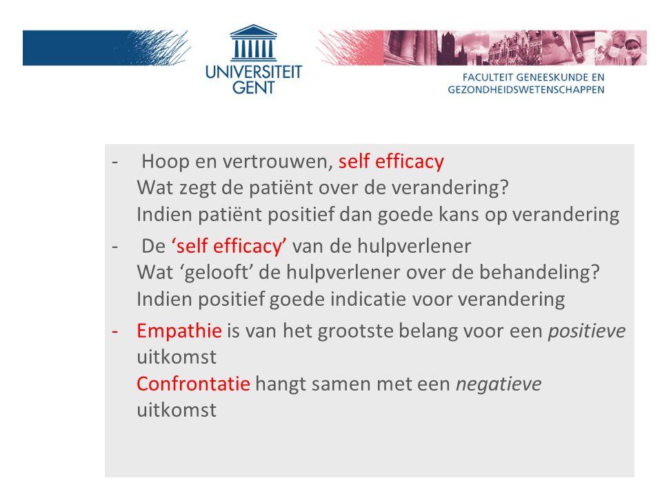 - Hoop en vertrouwen, self efficacy Wat zegt de patiënt over de verandering? Indien patiënt positief dan goede kans op verandering - De 'self efficacy