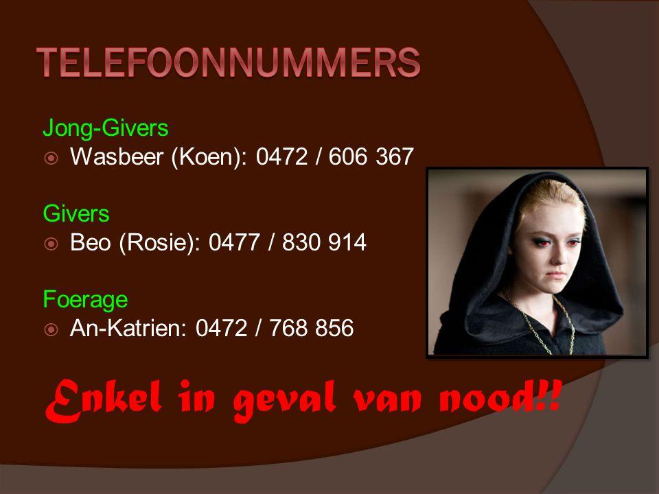 Jong-Givers  Wasbeer (Koen): 0472 / 606 367 Givers  Beo (Rosie): 0477 / 830 914 Foerage  An-Katrien: 0472 / 768 856 Enkel in geval van nood!!