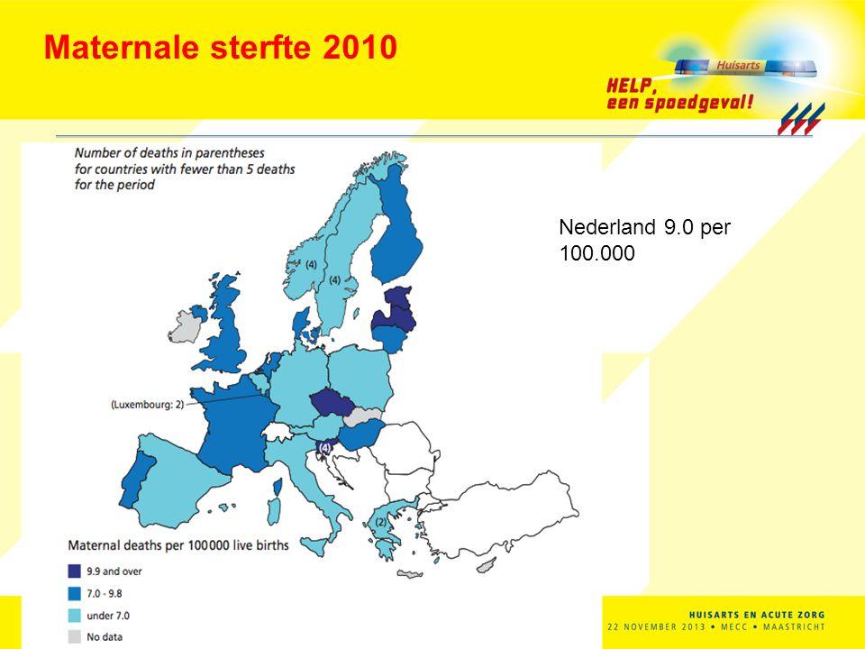 Maternale sterfte 1993-2005 in NL: 12.1 (8.8 directe oorzaken) 13 Maternal Mortality Ratio = aantal overleden moeders per 100.000 levend geborenen