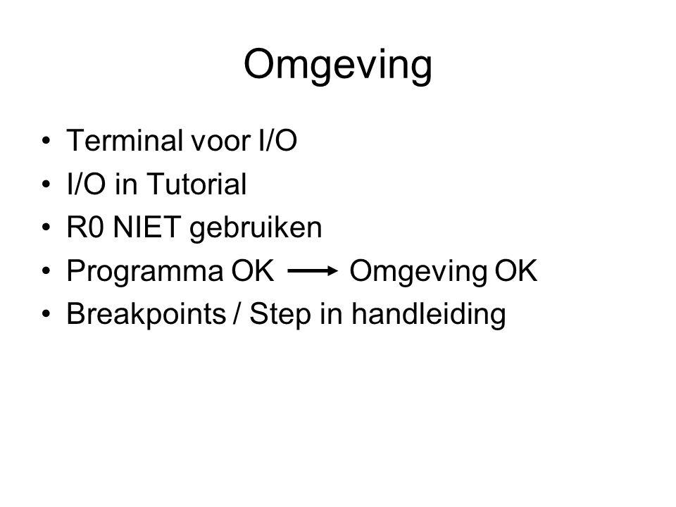 Omgeving Terminal voor I/O I/O in Tutorial R0 NIET gebruiken Programma OK Omgeving OK Breakpoints / Step in handleiding