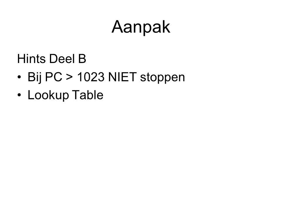 Aanpak Hints Deel B Bij PC > 1023 NIET stoppen Lookup Table