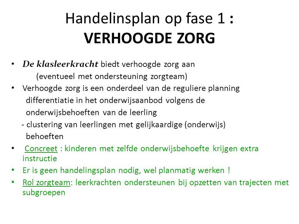 Handelinsplan op fase 1 : VERHOOGDE ZORG De klasleerkracht biedt verhoogde zorg aan (eventueel met ondersteuning zorgteam) Verhoogde zorg is een onder