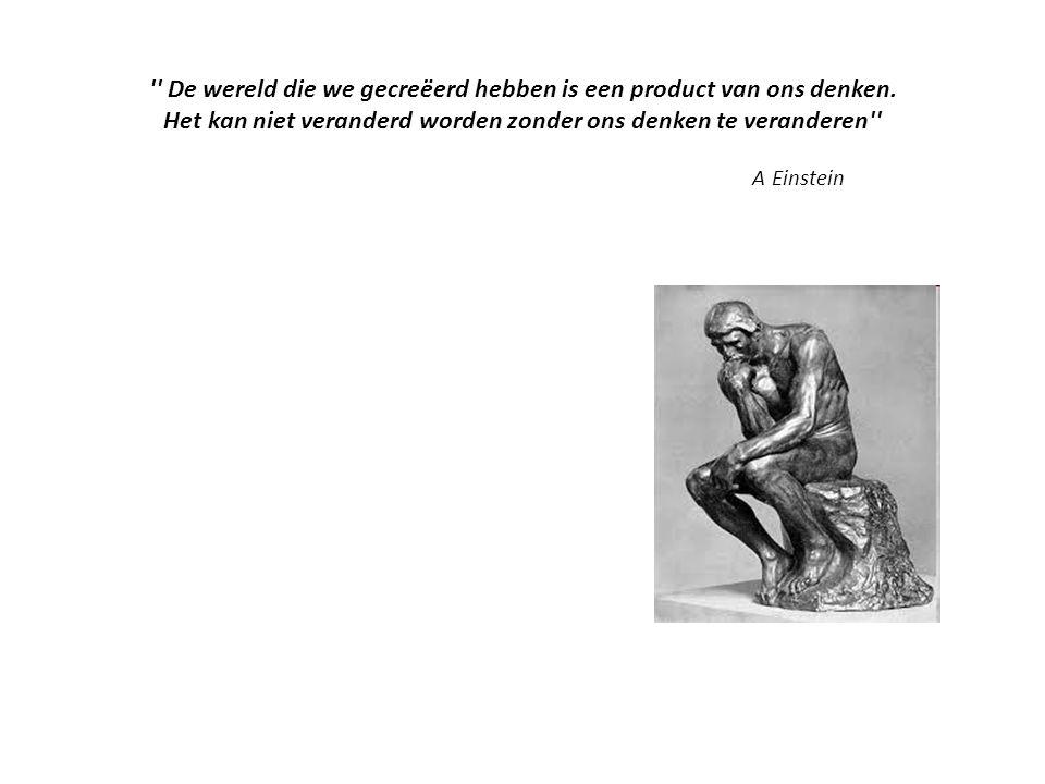 '' De wereld die we gecreëerd hebben is een product van ons denken. Het kan niet veranderd worden zonder ons denken te veranderen'' A Einstein