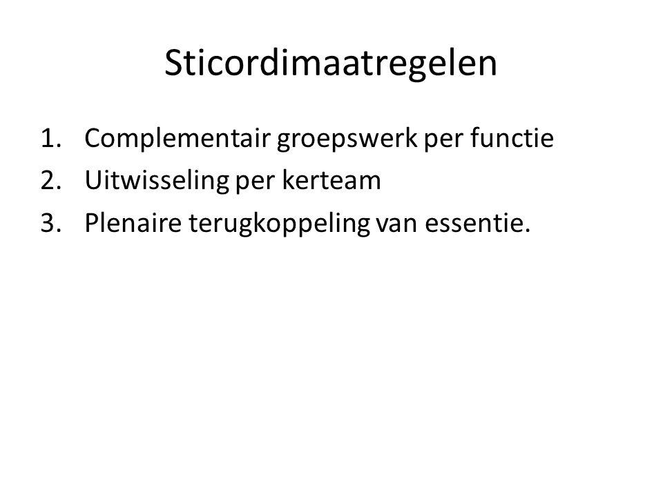 Sticordimaatregelen 1.Complementair groepswerk per functie 2.Uitwisseling per kerteam 3.Plenaire terugkoppeling van essentie.